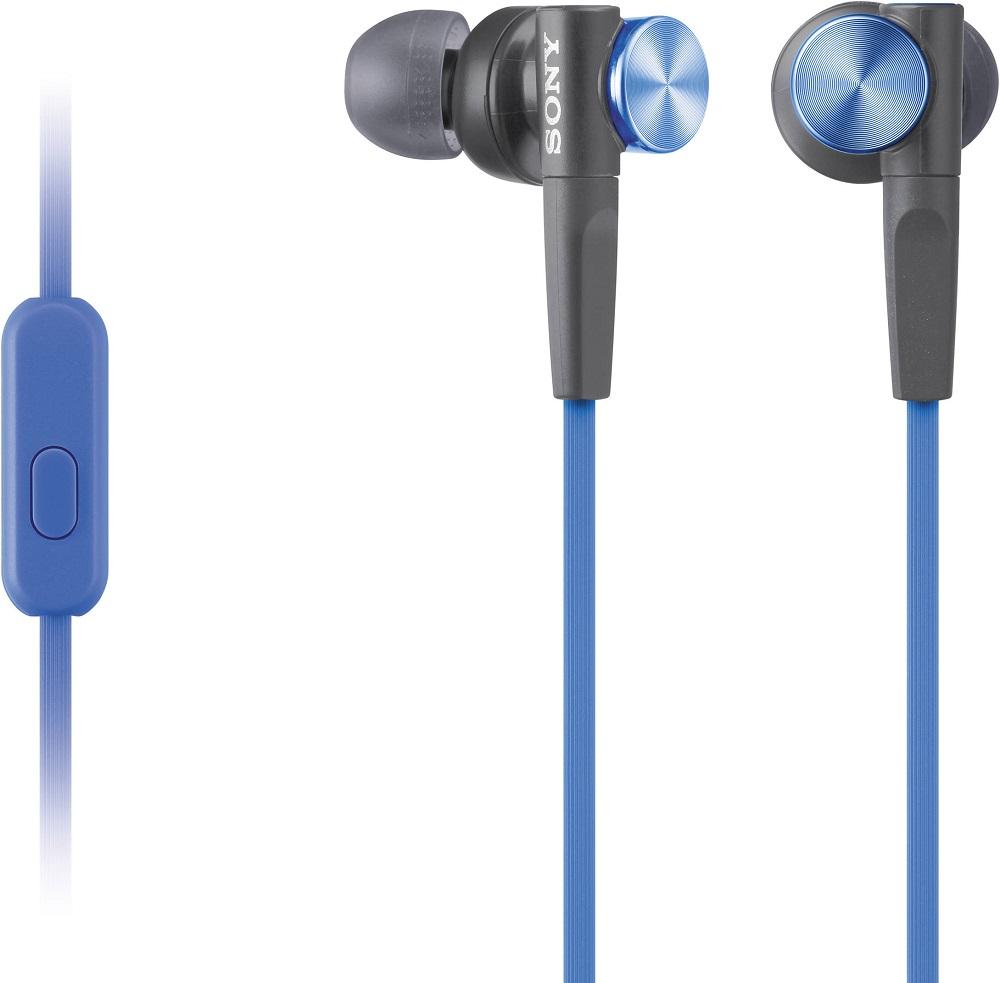 Наушники с микрофоном Sony MDR-XB50AP Blue цена в Москве и Питере