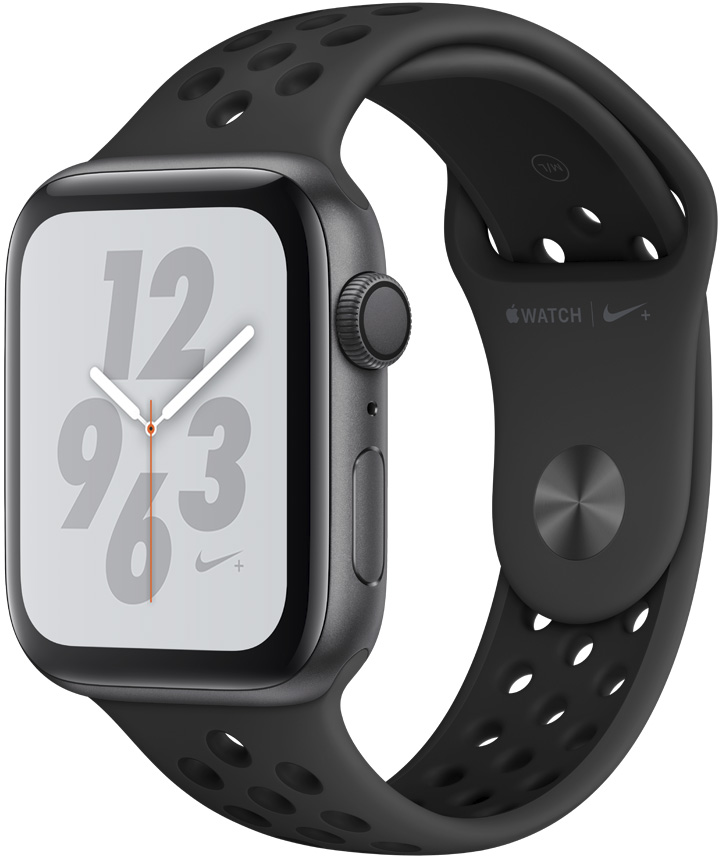 Часы Apple Watch Nike+ Series 4 44 мм корпус из алюминия серый космос + спортивный ремешок Nike (MU6L2RU/A) умные часы apple watch series 4 44 мм корпус из золотистого алюминия спортивный браслет цвета розовый песок