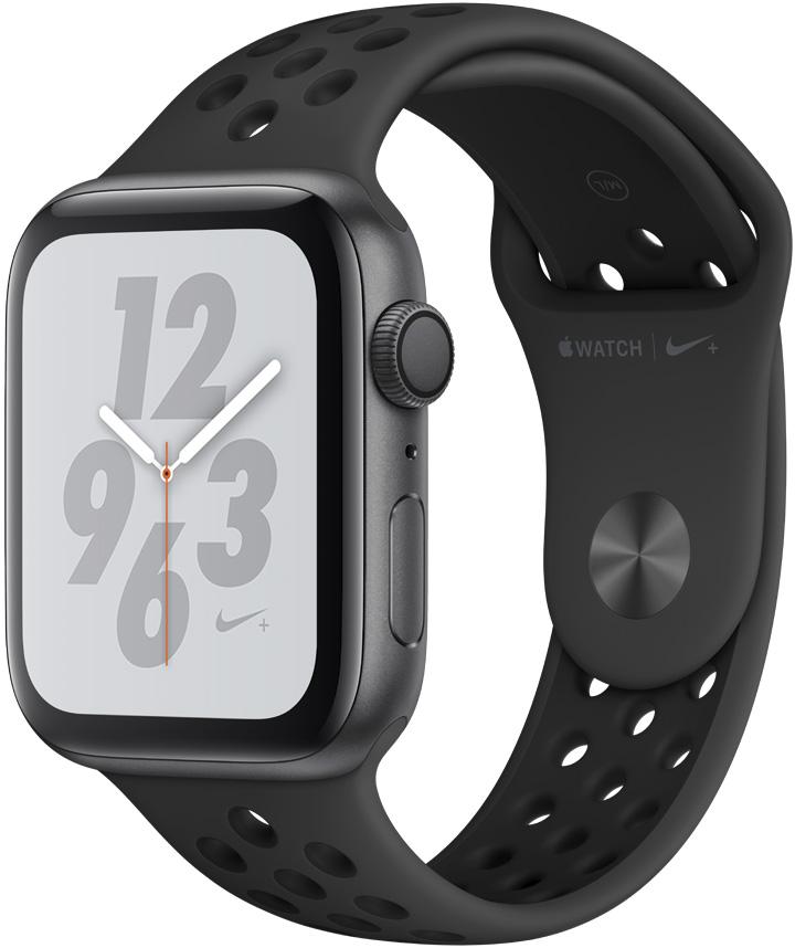 Часы Apple Watch Nike+ Series 4 44 мм корпус из алюминия серый космос + спортивный ремешок Nike (MU6L2RU/A) цена