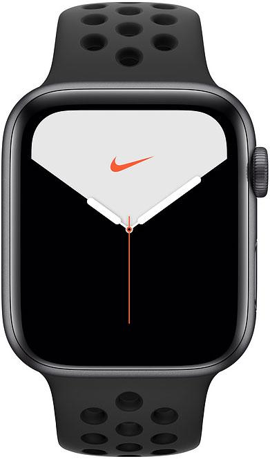 Часы Apple Watch Nike Series 5 44мм серый космос+спортивный ремешок Nike чёрный, часы, 0200-1961  - купить со скидкой