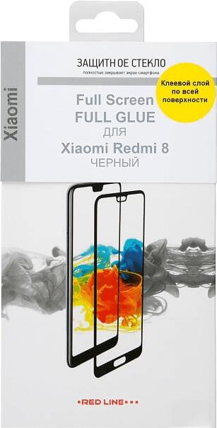 Стекло защитное RedLine Xiaomi Redmi 8 2.5D черная рамка фото