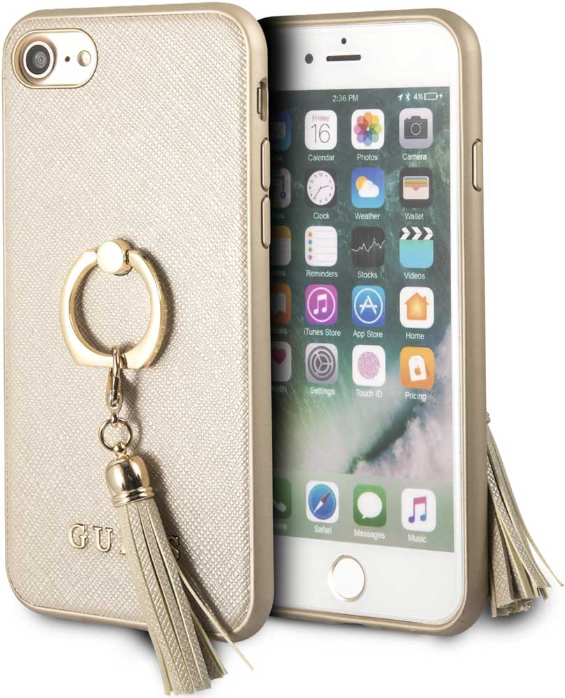 Клип-кейс Guess Apple iPhone 8 с кольцом Beige клип кейс guess silicone для apple iphone xr черный
