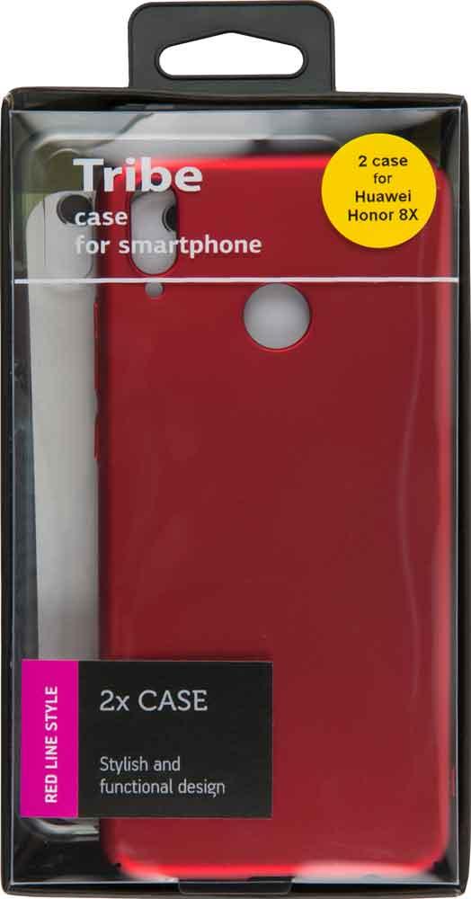 Набор чехлов Tribe Honor 8X силикон+пластик прозрачный/красный цена
