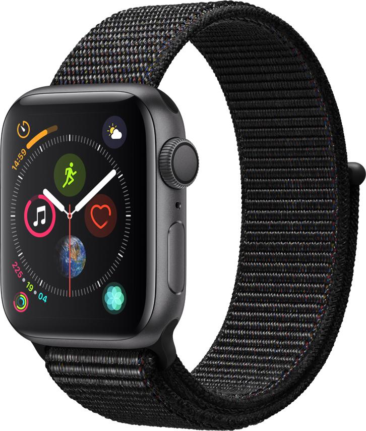 Часы Apple Watch Series 4 40 мм корпус из алюминия серый космос + спортивный ремешок черный нейлоновый (MU672RU/A) умные часы apple watch series 4 44 мм корпус из золотистого алюминия спортивный браслет цвета розовый песок