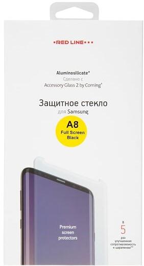 Стекло защитное RedLine Corning для Samsung Galaxy A8 3D черная рамка фото