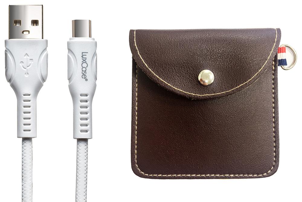 Дата-кабель LuxCase Type-C 1.5А белый+мягкий футляр Brown фото