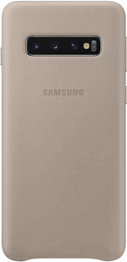 Клип-кейс Samsung Galaxy S10 EF-VG973L кожа Grey клип кейс samsung dual layer ef pj330 для galaxy j3 2017 голубой