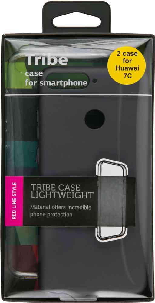 Набор чехлов Tribe Honor 7C силикон+пластик прозрачный/черный набор чехлов tribe honor 8c силикон пластик прозрачный и красный
