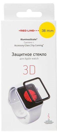 Стекло защитное RedLine Corning для Apple Watch 38 мм 3D черная рамка