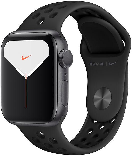 Часы Apple Watch Nike Series 5 40мм серый космос+спортивный ремешок Nike чёрный фото