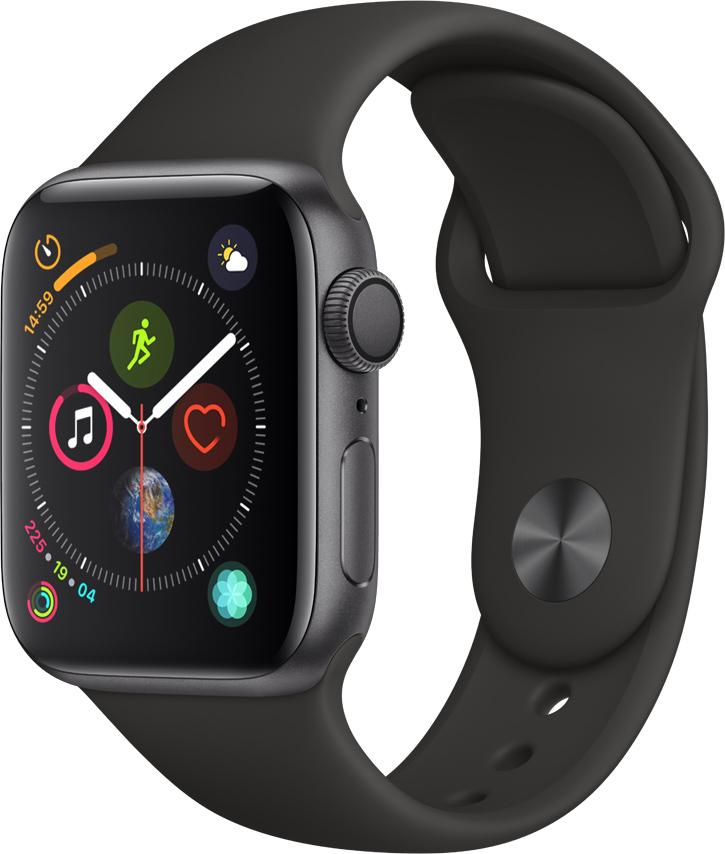 Часы Apple Watch Series 4 40 мм корпус из алюминия серый космос + спортивный ремешок черный (MU662RU/A) умные часы apple watch series 4 44 мм корпус из золотистого алюминия спортивный браслет цвета розовый песок