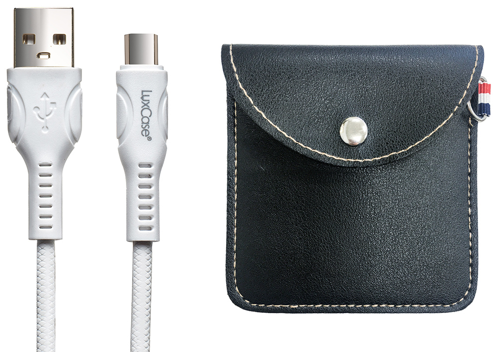 Дата-кабель LuxCase Type-C 1.5А белый+мягкий футляр Black фото