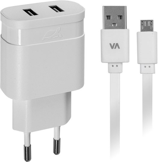 СЗУ Rivacase Rivapower - 4122WD1 + Дата-кабель microUSB 2 USB 2,4A white кабель