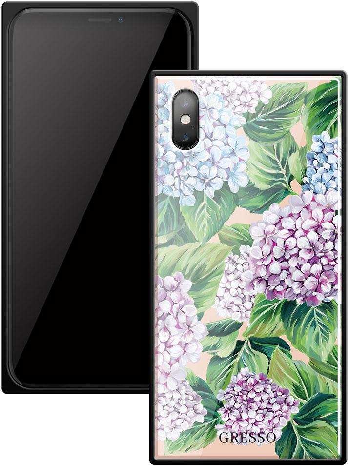 Клип-кейс Gresso Glass Apple iPhone X прямоугольный цветы цена и фото