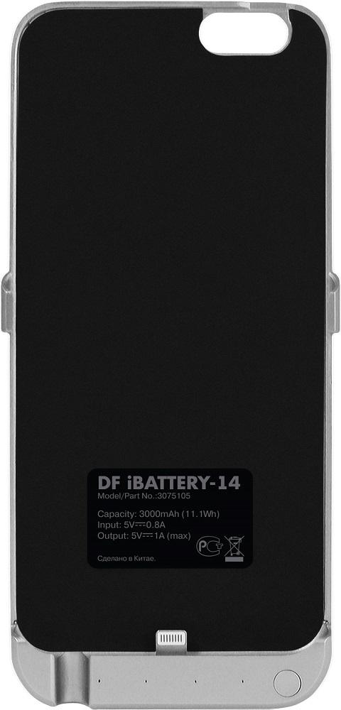 Чехол-аккумулятор DF iBattery-14 для Iphone 6/6S/7 Silver чехол аккумулятор df ibattery 14s для iphone 6 iphone 6s iphone 7 розовое золото