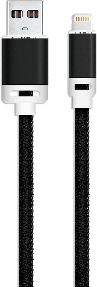 Дата-кабель Akai 8-pin Apple Lightning 1м экокожа Black стоимость