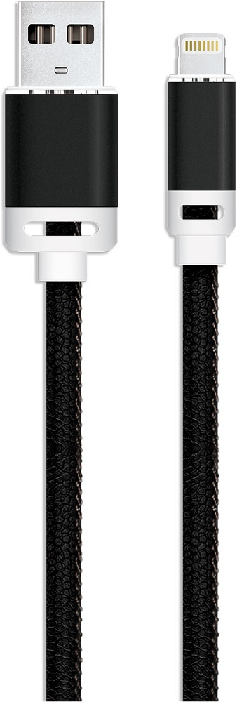 Дата-кабель Akai 8-pin Apple Lightning 1м экокожа Black