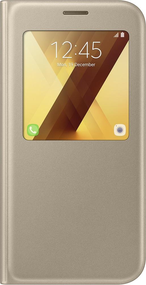цена на Чехол-книжка Samsung Samsung Galaxy A7 2017 S View Standing Cover Gold (EF-CA720)