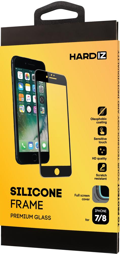Стекло защитное Hardiz iPhone 8/7 Silicone Frame черная рамка фото