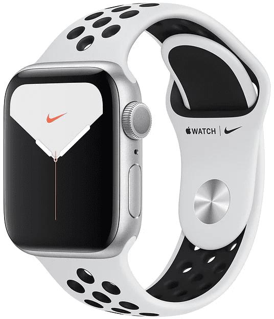 Часы Apple Watch Nike Series 5 44мм серебристого цвета+спортивный ремешок Nike чёрный фото