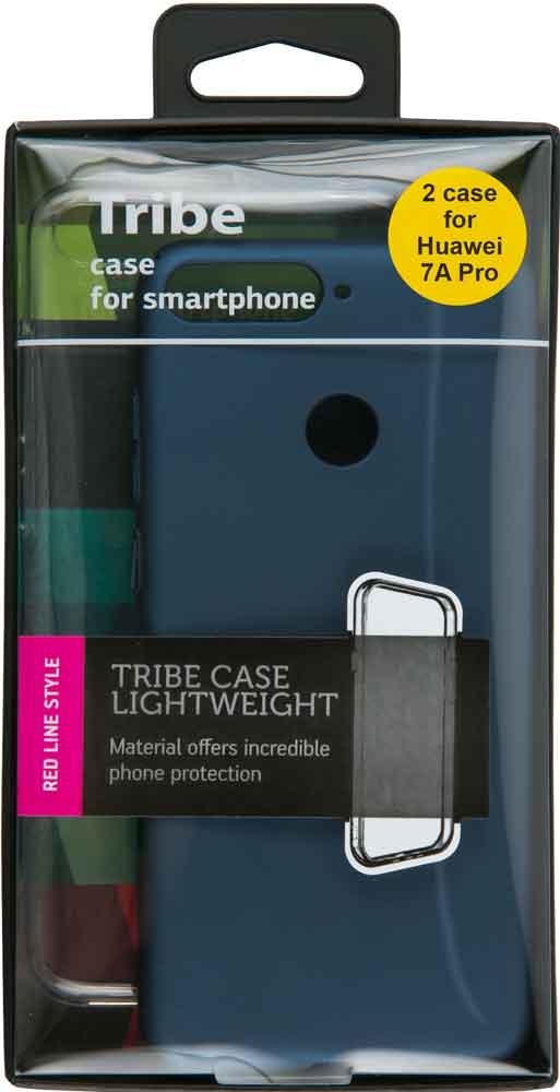 Набор чехлов Tribe Honor 7A Pro силикон+пластик прозрачный/синий