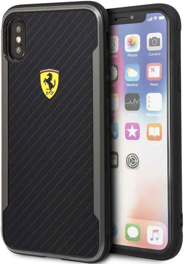 Клип-кейс Ferrari iPhone ХS пластик под карбон Black цена