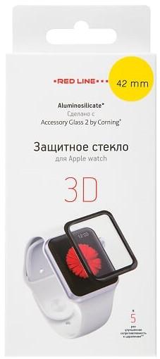 Стекло защитное RedLine Corning для Apple Watch 42 мм 3D черная рамка защитное стекло 3d deppa для apple iphone xs max 0 3 мм черная рамка