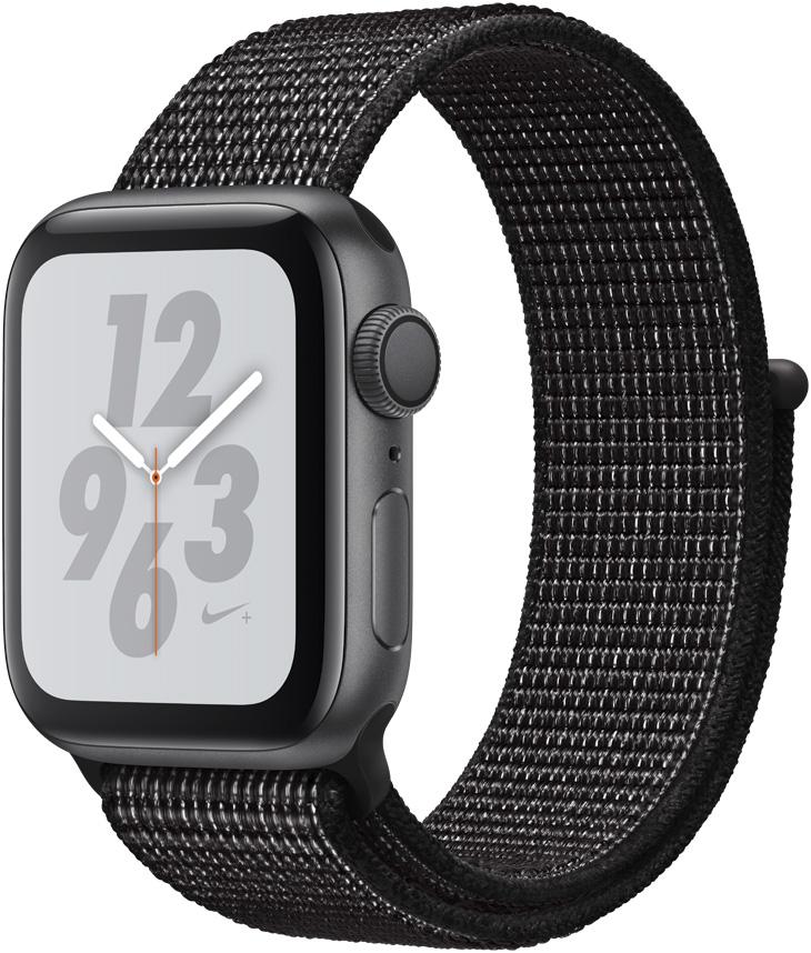 Часы Apple Watch Nike+ Series 4 40 мм корпус из алюминия серый космос+спортивный ремешок Nike черный нейлоновый (MU7G2RU/A) умные часы apple watch series 4 44 мм корпус из золотистого алюминия спортивный браслет цвета розовый песок