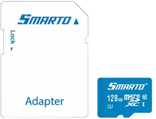 купить Карта памяти MicroSDHC Smarto 128GB Class10 c адаптером Blue по цене 2299 рублей