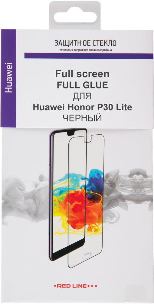 Стекло защитное RedLine Huawei P30 Lite Full Screen Full Glue черная рамка фото