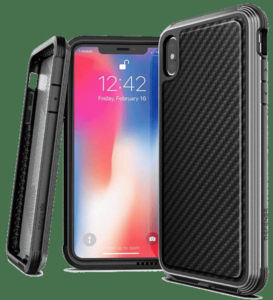Клип-кейс X-Doria iPhone XS противоударный карбон Black