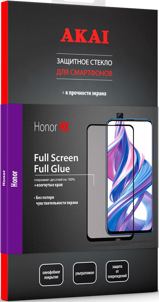 Стекло защитное Akai Honor 9X 2.5D черная рамка фото