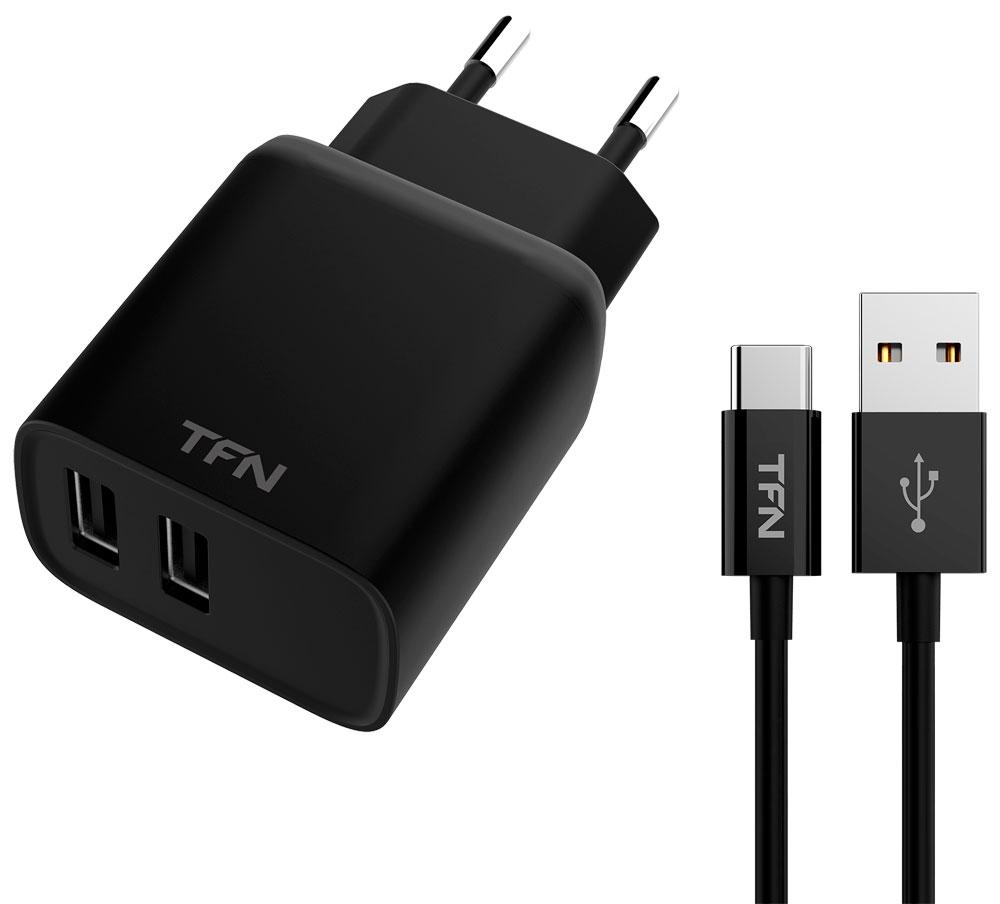 СЗУ TFN Rapid 2.4А + кабель Type-C Black сзу red line 2 usb модель nc 2 4a 2 4a кабель type c черный