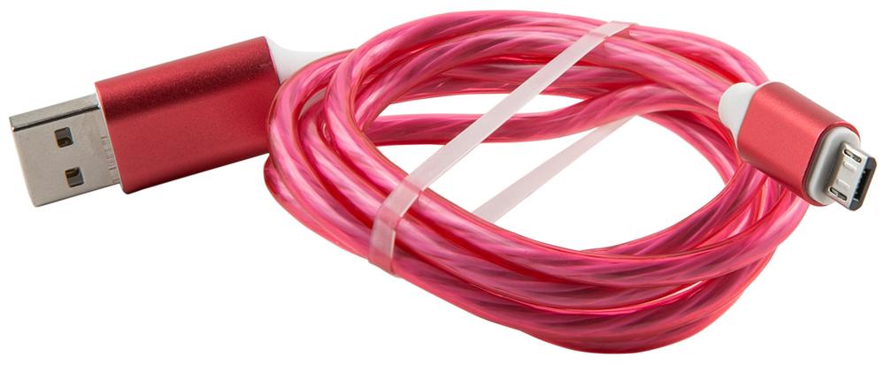 Дата-кабель RedLine LED USB-microUSB 1м Pink