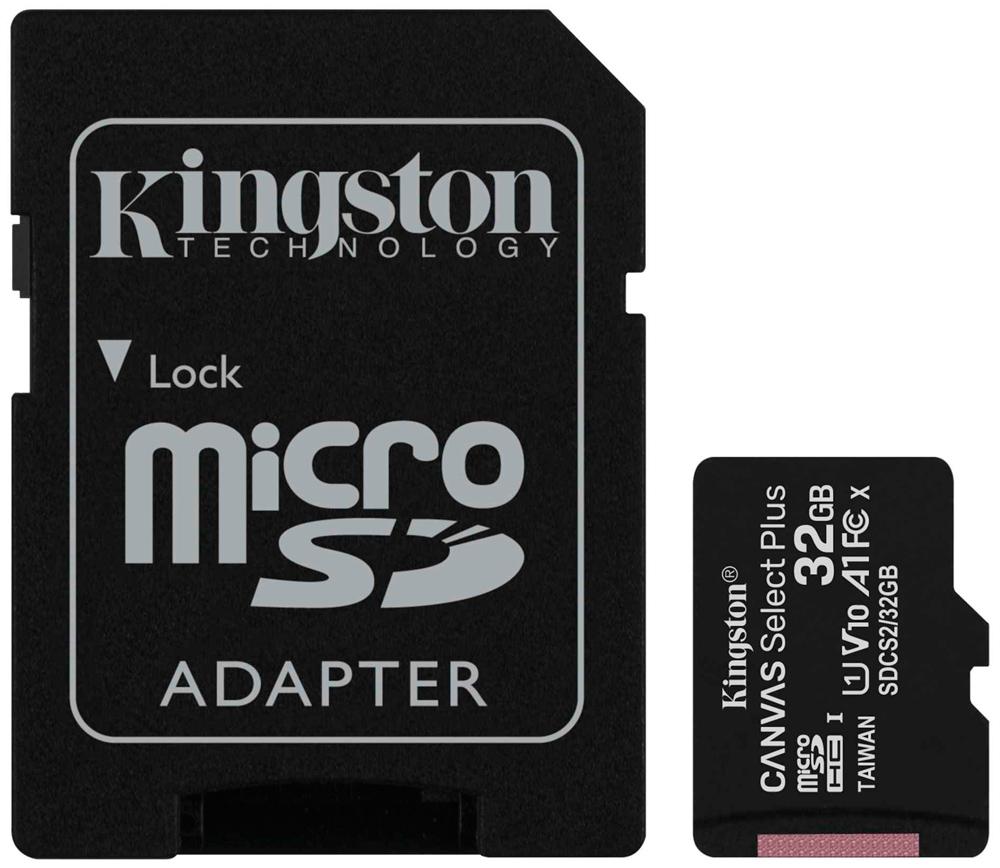 Карта памяти MicroSDHC Kingston Canvas Select Plus 32Gb Class10 с адаптером Black фото