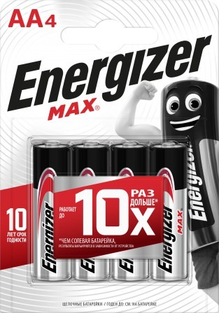 Батарея Energizer MAX LR6 Е91 AA 4 шт блистер батарейки aa max lr6 24 24 шт kodak щелочные