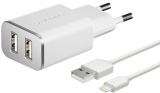 фото Сзу Deppa 2USB 2.4А+дата-кабель USB-Lightning MFI white