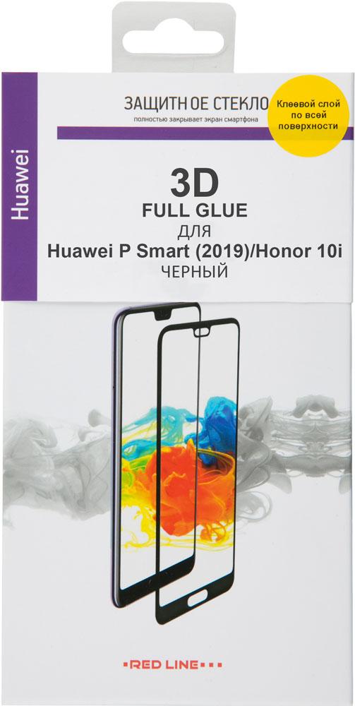 Стекло защитное RedLine Honor 10i/Huawei P Smart 2019 3D Full Glue черная рамка фото