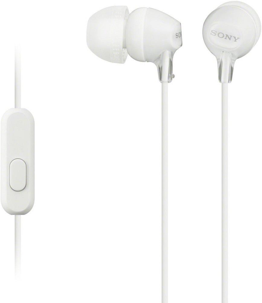 Наушники с микрофоном Sony MDR-EX15AP White гарнитура sony mdr ex15ap violet