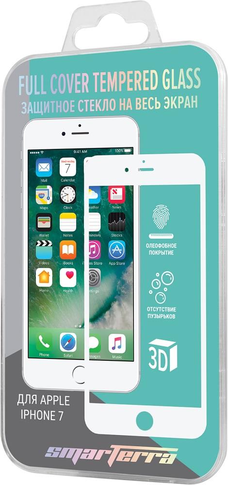 Стекло защитное Smarterra для iPhone 7/8 3D Full Screen белая рамка прозрачное цена и фото