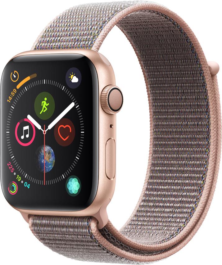Часы Apple, Watch Series 4 44 мм корпус из алюминия золото+спортивный ремешок розовый нейлоновый (MU6G2RU/A), часы, 0200-1786  - купить со скидкой
