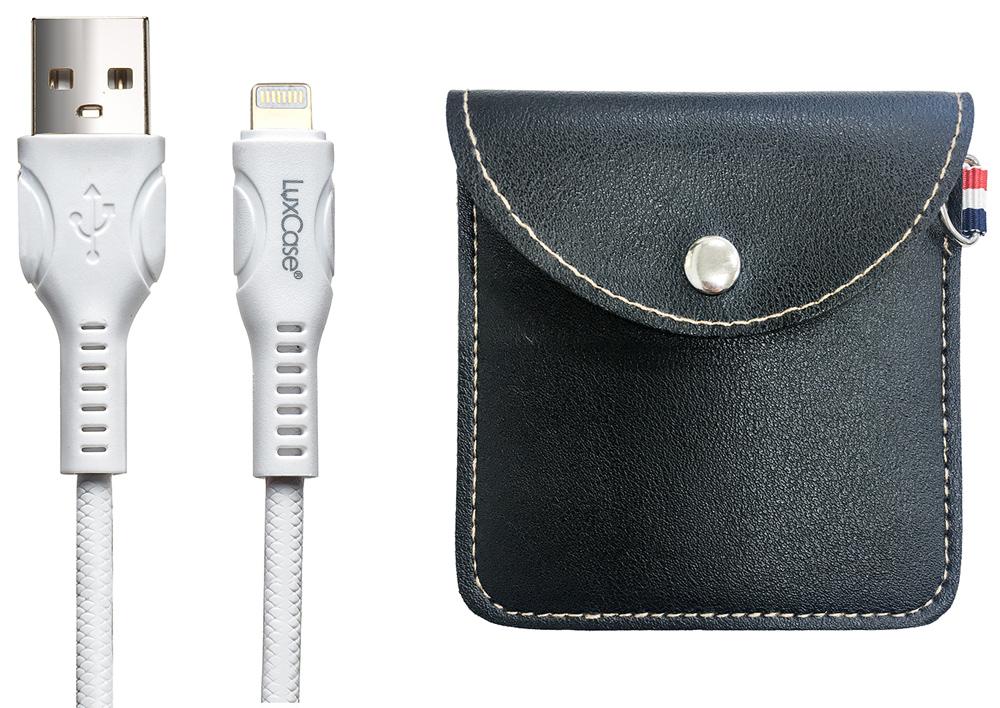 Дата-кабель LuxCase Lightning 1.5А белый+мягкий футляр Black фото