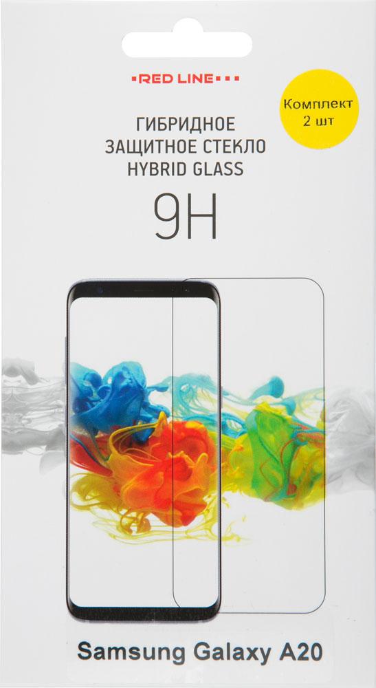 Стекло защитное RedLine Samsung Galaxy A20 Hybrid прозрачная 2 шт фото