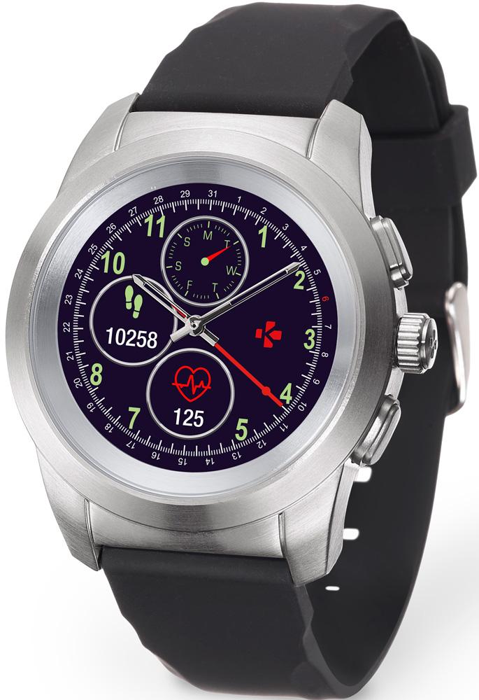 Часы MyKronoz ZeTime Original Regular гибридные Silver ремешок черный