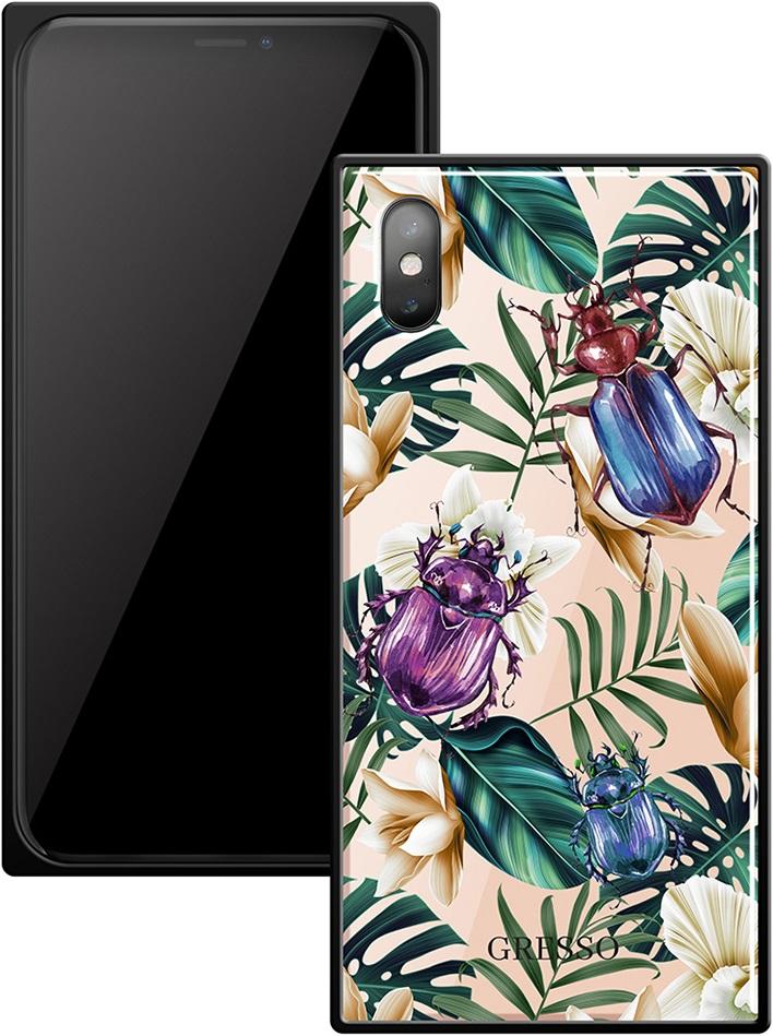 Клип-кейс Gresso Glass Apple iPhone X прямоугольный жуки клип кейс gresso glass huawei honor 9 lite прямоугольный blue