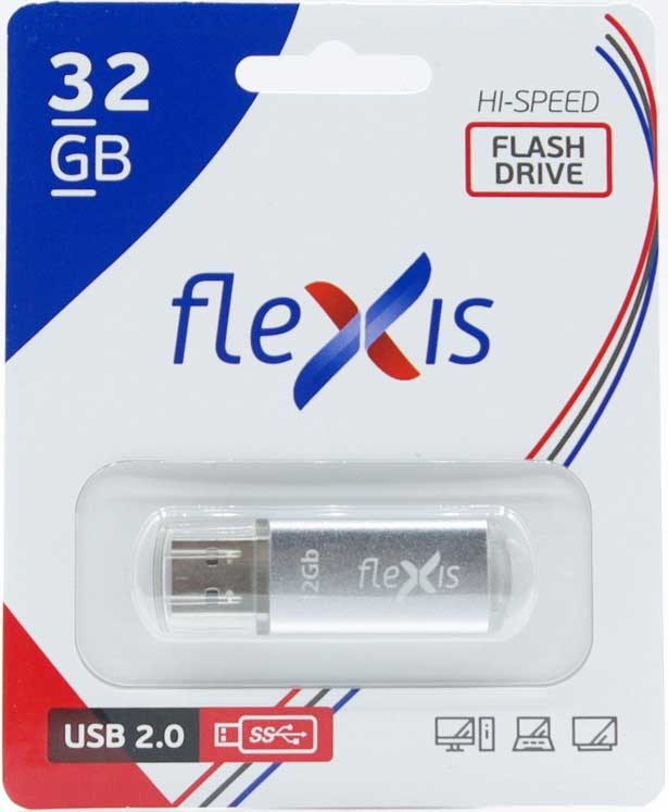 USB Flash FLEXIS RB-108 32GB USB2.0 Silver настольная лампа marksloid 105772