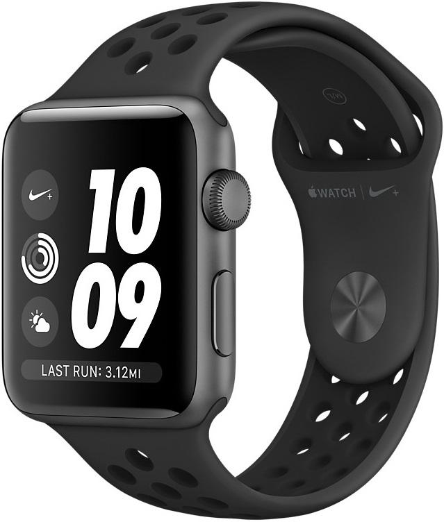 Часы Apple Watch Nike+ Series 3 42 мм корпус из алюминия серый космос + спортивный ремешок Nike (MTF42RU/A) цена