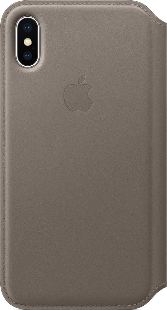 Чехол-книжка Apple iPhone X Folio кожаный Grey чехол книжка apple leather folio для iphone x чёрный mqrv2zm a