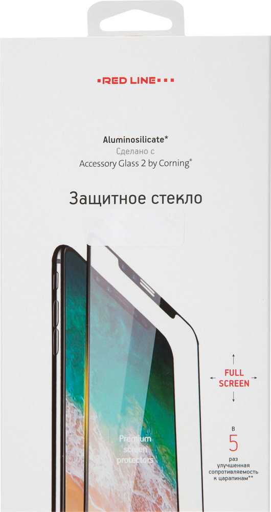 Стекло защитное RedLine Corning для Samsung Galaxy A7 2018 0.2 мм черная рамка фото