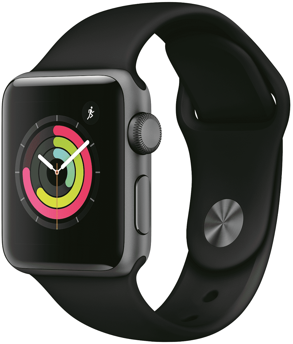 Часы Apple Watch Series 3 38 мм корпус из алюминия серый космос+спортивный ремешок черный (MTF02RU/A) ashei watch band for apple watch strap series 3 series 2 series 1 women leather bracelet wristband for iwatch belt 38mm 42mm